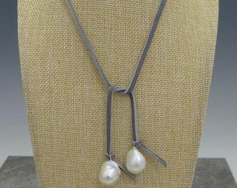 Baroque Pearl and Suede Lariat Necklace