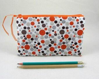Dot pencil case, handmade zipper pouch, gadget case, pen case, kids pencil pouch