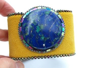 Lapis Lazuli & Malachite Leather Cuff - Bohemian Cuff-Statement Boho Bracelet-Hematites-Yellow-Leather Bracelet