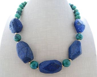 Blue lapis lazuli necklace and earrings, chunky stone necklace, green chrysocolla choker, big bold necklace, beaded necklace, stone jewelry