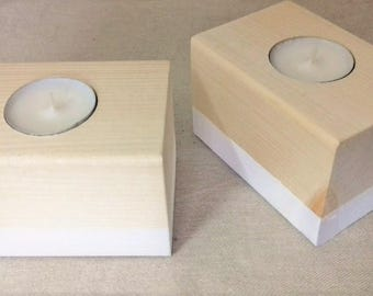 Rectangular wood - oxzo collection candlesticks