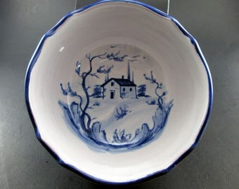 Blue and White Vintage Ceramic Bowl PV Made in Italy House and Landscapes