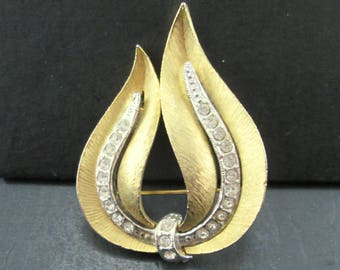 Vintage JJ Leaf Gold and Silver Tone Brooch Pin with Rhinestones Signed