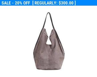 Gray women bag, Large leather handbag, Soft Leather Bag, Oversize tote Bag, Slouch bag, shoulder purse, market tote bag - Charley Bag