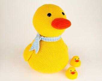 CROCHET PATTERN: Big Yellow Duck - amigurumi, stuffed animal, duck
