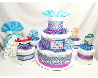 Mermaid Themed Diaper Cake Gift Set| Mermaids| Mermaid Baby Shower| Mermaid  Baby Shower