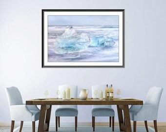 ON SALE SALE Icebergs - Original Art Winter Photography Iceland - Winter Wonderland - Oversized Print - Very Large Wall Decor - Teal Grey -