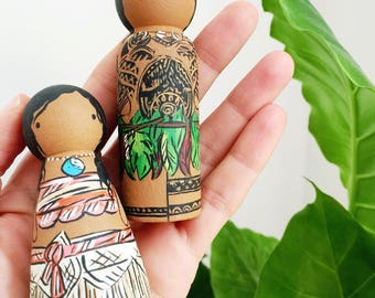 Moana and Maui peg doll set