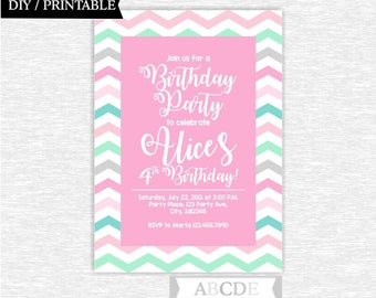 Girl Birthday Invitation Chevron Pink Grey Mint Birthday Party invitation DIY Printable ( PDSDCH100 )