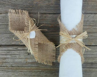 Ring napkins, burlap wedding napkin rings, rustic wedding decor, napkin rings weddins, burlap wedding table runners,napkin rings rustic jute
