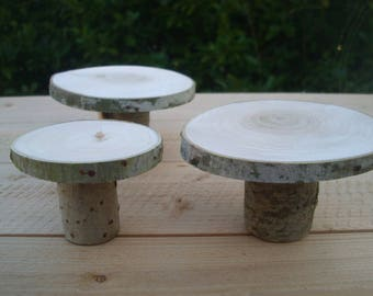 Cupcake holder in natural birch wood 10 piece set