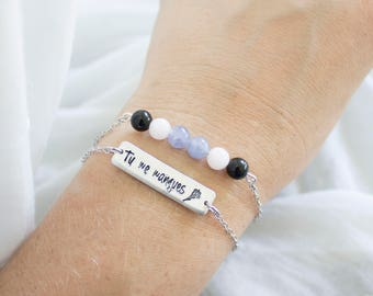 Tu Me Manques Bracelet - You are missing from me Jewelry - Gift for Grieving Mother - Grief Support Healing Gemstones for Grieving Bracelet