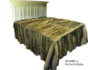 Plush Faux Fur Bedspread - Comforter - Throw Blanket - Coyote Brown Shag - Soft Minky Cuddle Fur Lining - Fur Accents Original Designs USA