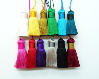Synthetic Silk thread tassels, 5 cm long, 2 pcs set