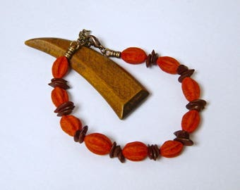 "PROMOTION - 20% - rustic Bracelet, ""Rosso"" tinted African seed beads, woman gift idea"