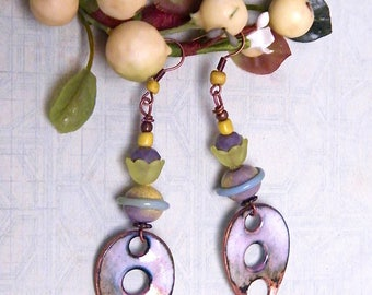 Rustic/poetic earrings, copper enamel, glass, lucite, natural stone