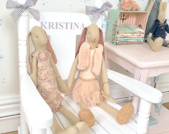 Child's Personalised Rocking Chair with Grey Ribbon