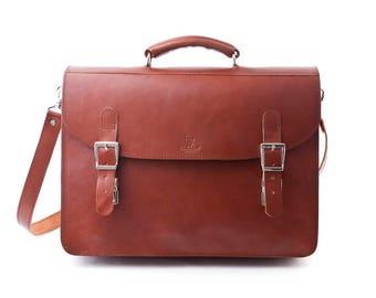 Handmade Leather Briefcase Marlborough Tan