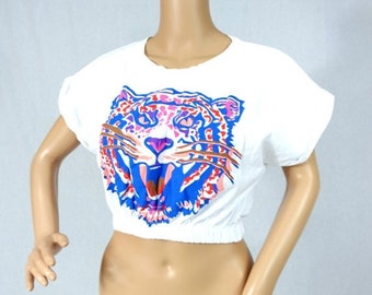 ON SALE Vintage White cropped short Blouse / Gathered waist top / Neon tiger top / Cropped top / Summer Top / Cropped Shirt / Top Size S M M