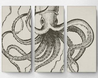 Octopus Wall Art, Octopus Art, Octopus Canvas, Octopus Decor, Nautical Art,