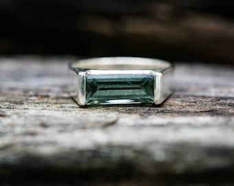 Sea Foam Green Tourmaline Ring 7.5 - Blue Green Tourmaline Ring - Indicolite Tourmaline Ring size 7.5 - Blue Green Tourmaline Cabochon Ring