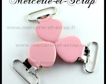 SET of 30 pink strap clips clear 25mm heart shape