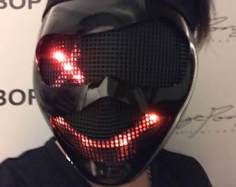 Proctor FX Mask - Black Light Up Mask for DJ Joker Villain Cosplay Helmet Cyborg Smile Smiley Mask Rave Costume Mannequin Head Robot Helmet