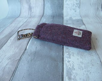 Harris Tweed glasses case, springclip frame, dark burgundy, phone case, soft glasses case, spectacles case, accessory, eyewear, protection