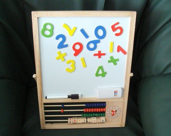Vintage Black Clock Board/Magnetic Numbers Board/ Children's Toy School Board/Abacus Child's Chalkboard/ 1990s