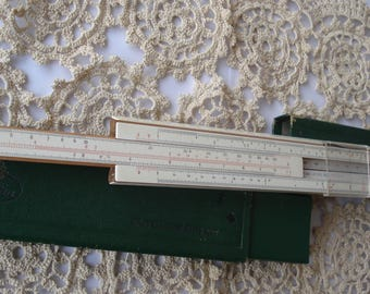 German Slide Ruler in Original Box/ A.W. Faber CASTELL  Logarithmic Ruler/ Made in Germany/Vintage Calculator Ruler/1980s