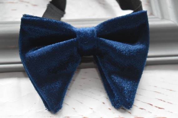 Kids navy velvet floppy / butterfly bow tie  for Baby, Toddlers and Boys (Kids Bow Ties) with Braces/ Suspender