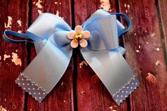 Pretty Blue Grosgrain Long Tail Bow with Polka Dot Tip - Baby / Toddler / Girls / Kids Headband / Hairband / Barrette / Hairclip / Pastel