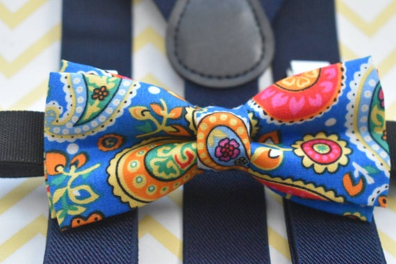 Kids Paisley Blue Bow Tie with Navy Suspenders / Braces  for Baby, Toddlers and Boys - Wedding / Church/ Cake Smash / Birthday / Christening