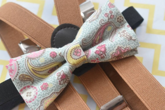 Kids Paisley Blue Bow Tie with Tan Brown Suspenders / Braces  for Baby, Toddlers and Boys - Wedding / Cake Smash / Birthday / Christening