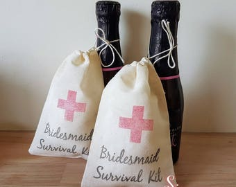 3 x Bridesmaid Survival Kit Muslin Favour Bags