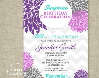 Surprise Birthday Party Retirement Celebration Invitation Purple Lilac Turquoise Chevron High Tea Floral Invitation Printable Invite 359