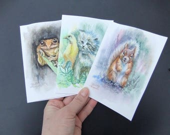 Original Watercolor Art Postcards Set of 3 Squirrel Kitten Frog