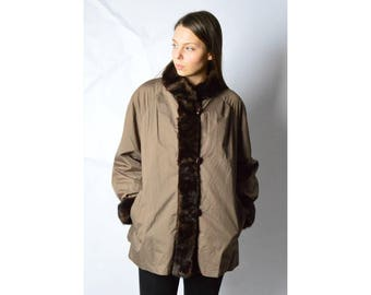 Vintage 80s Brown Faux Fur Reversible Coat Size M/L