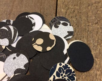 Black and White Wedding Confetti Mix / Table Decor / Black and White Circle Theme Table Scatter / 200 Pieces / Hand Punched /