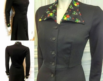 Original 1960's Peggy Page Mini Dress With Floral Turn Back Cuffs And Spear Point Collar - Good Condition - Only 55 Pounds!