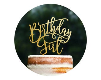 Fun Calligraphy Birthday Girl Cake Topper, Happy Birthday Cake Topper, Scripted Cake Topper, Birthday Party Decor, Happy Bday Topper (T403)