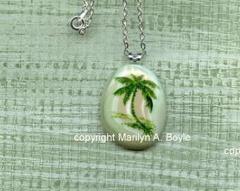 FUSED GLASS PENDANT - Hand Painted; summer jewelry, palm tree, one of a kind, original art, pendant, 18 inch ornate, silver metal chain