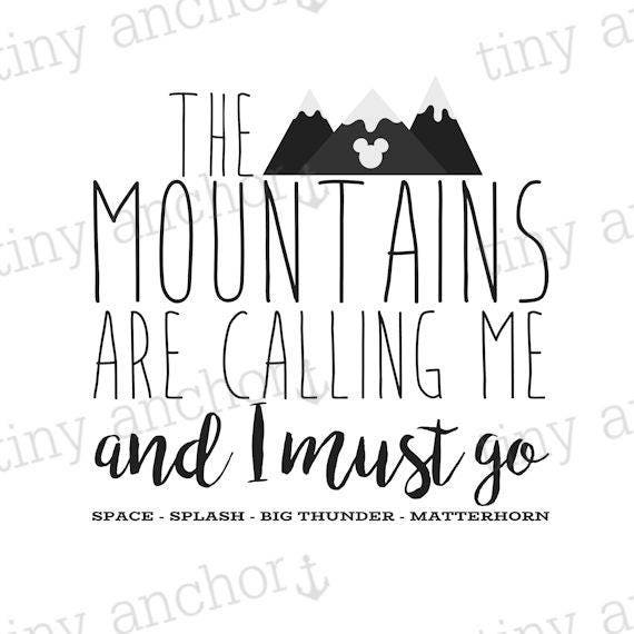 Printable The Mountains Are Calling Disney Iron On Transfer