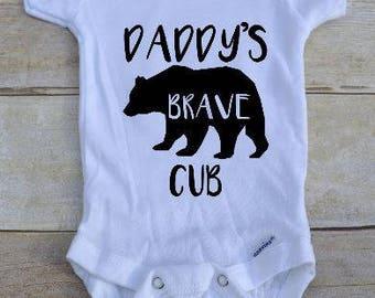 Daddy's Brave Cub/ Daddy's Brave Cub bodysuit/ Daddy's brave cub one piece/ New baby bodysuit