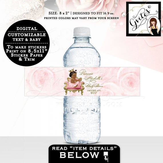 "Water bottle labels, baby shower, girl, pink and gold African American party decorations, stickers, favors gifts, decor. 8x2"" 5 Per/Sheet"