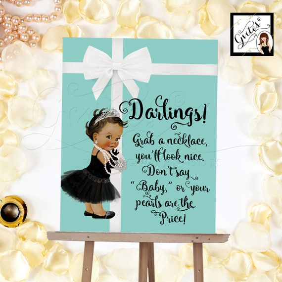Necklace Game Sign - Grab a necklace don't say baby game sign, BABY SHOWER printable game sign. 8x10, Customizable Baby Skin Tone ONLY!