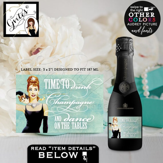"MINI CHAMPAGNE labels, breakfast at decor, bachelorette party, Audrey Hepburn bottle label party CUSTOMIZABLE, favors, 3x2"" 9/Per Sheet"