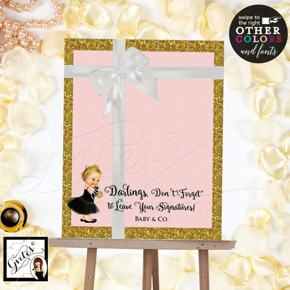 Pink and Gold GuestBook Alternative poster sign, customizable baby shower signs, signage, please sign our guest book. Digital File Only!