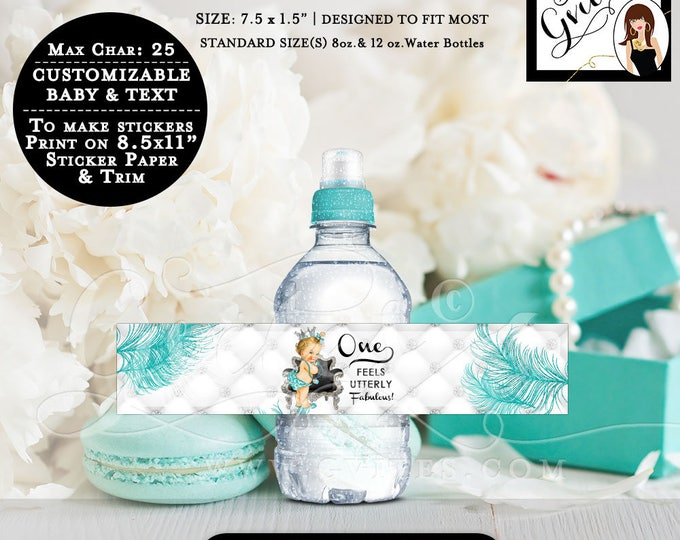 "MINI Water Bottle Labels First Birthday Party, Princess favors water blue & silver label, stickers. 8oz-12oz Bottles 7.5 x 1.5""/7 Per Sheet."