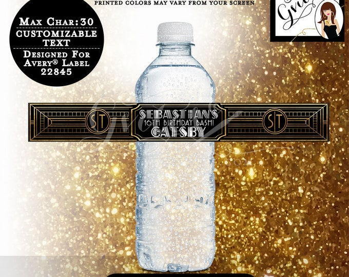 "Great Gatsby Water Labels, The Great Gatsby theme, personalized stickers, sweet 16 birthday 9.75x1.25""/5 Per Sheet {Designed Avery® 22845}"